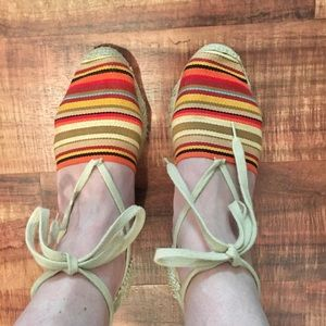 Andre Assous Striped Lace Up Wedge Espadrilles